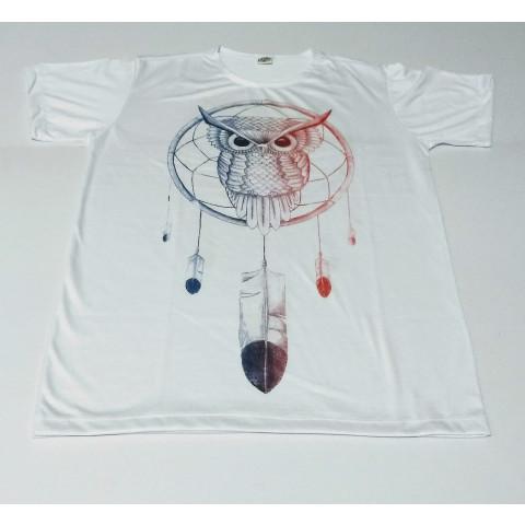 JA054- Camiseta Branca (Coruja c/ Filtro dos Sonhos)