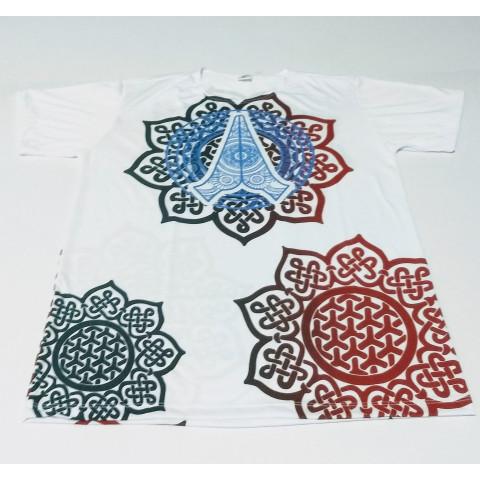 JA072 - Camiseta Branca (Mandalas c/ Hamsa)