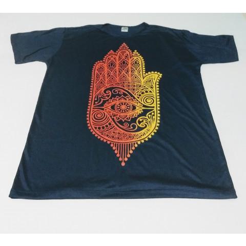 JA076 - Camiseta Azul (Mão Hamsa)