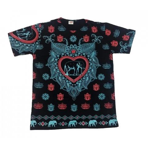 JA144 - Camiseta Preta (Elefante c/ Coração)