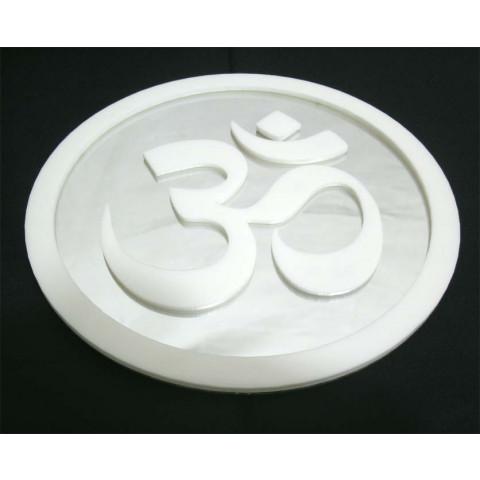 MA4102-02 - Mandala OM Acrilico Espelhado Branco