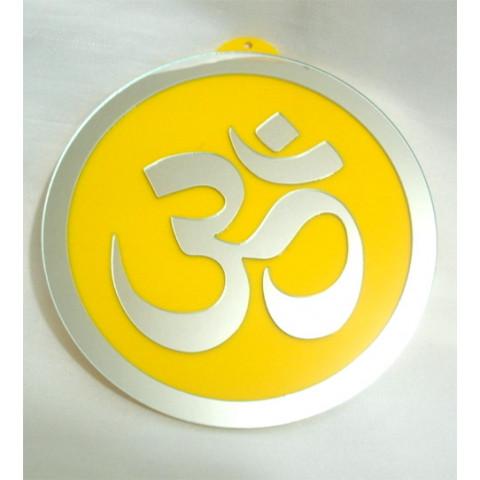 MA4102-05 - Mandala OM Acrilico Espelhado Amarelo