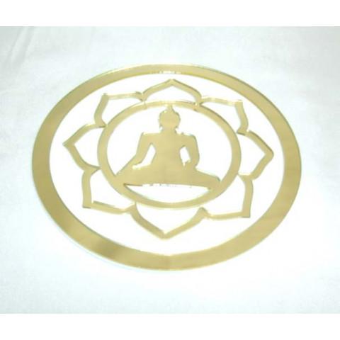 MA4102-09 - Mandala Buda Tibetano Acrilico Espelhado Dourado