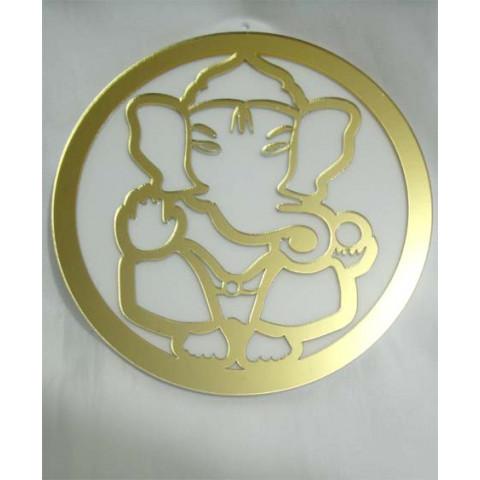 MA4102-10 - Mandala Ganesha Acrilico Espelhado Dourado