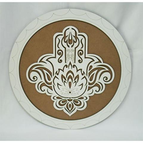 ME5910-1 - Mandala Madeira Mão Hansa Bco (35cm)