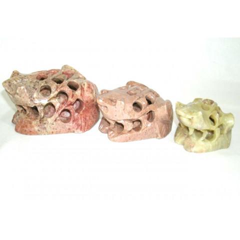 MH9052-01 - Jogo c/ 3 Sapo Pedra Sabão