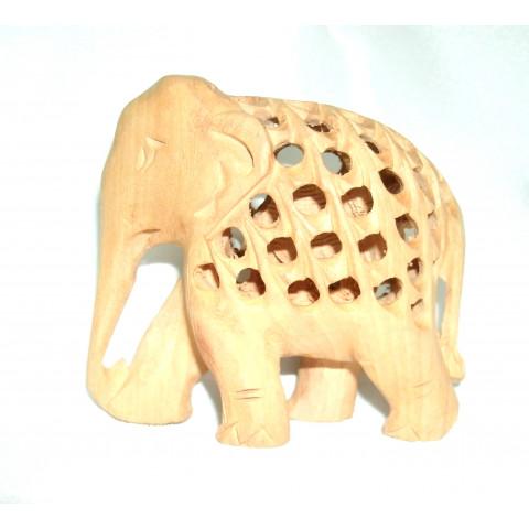 NH265-06 - Estatueta Elefante Madeira Indiana