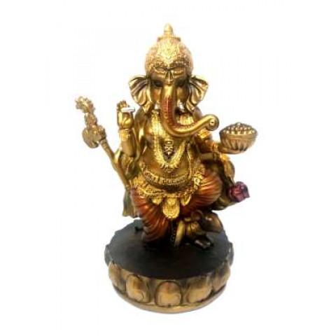 CPB040469101 - Escultura Ganesh Dourado 11842