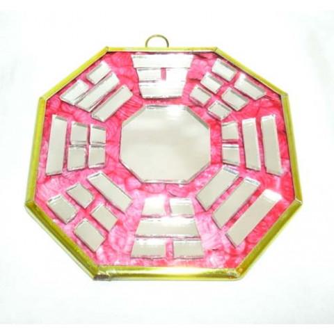 RO5500-2 - Bagua de Espelho c/ Escrita Vermelho (9 cm)