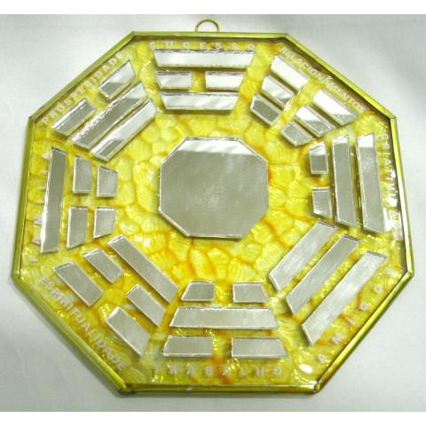 RO5505-1 - Ba-gua Vidro C/ Trigramas e Escrita Amarelo (15cm)