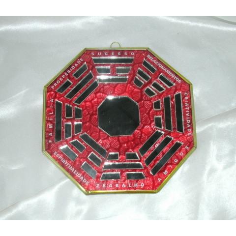 RO5505-2 - Ba-gua Vidro C/ Trigramas e Escrita Vermelho (15cm)