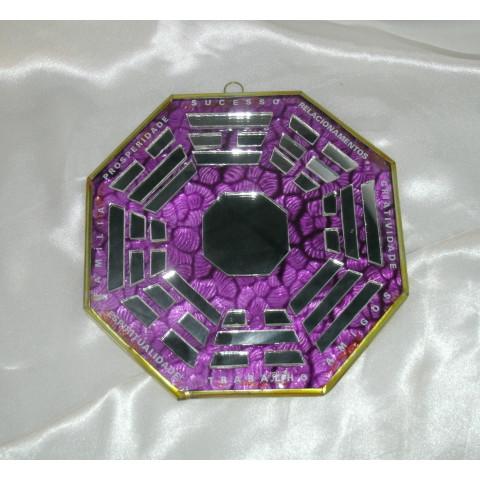 RO5507-2 - Ba-gua de Espelho C/ Escrita Roxo (12cm)