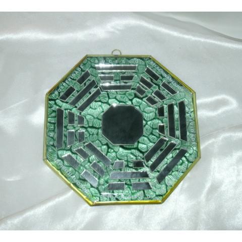 RO5507-5 - Ba-gua de Espelho C/ Escrita Verde (12cm)