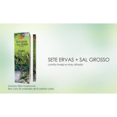 1357 - Incenso Hem Sete Ervas c/ Sal Grosso