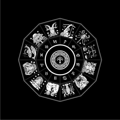 EG001-8 - Toalha p/ Tarot Zodiaco (Preto)
