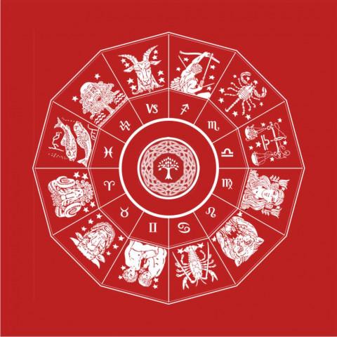 EG001-9 - Toalha p/ Tarot Zodíaco (Vermelha)