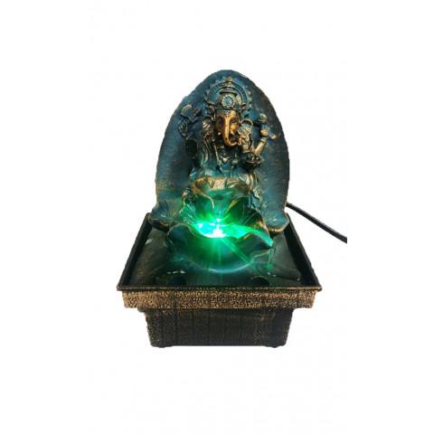 BP8183 - Fonte Ganesh No Trono (Azul/Bronzeado) C/ Luz