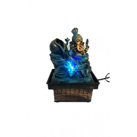 BP8182 - Fonte Ganesh Cascata (Azul/Bronzeado) C/ Luz