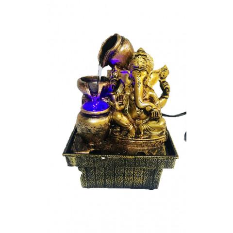 BP8185 - Fonte Ganesh Sabedoria Dourado C/ Luz
