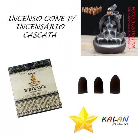 0767 - Incenso Goloka Cone Cascata White Sage (Sálvia Branca)