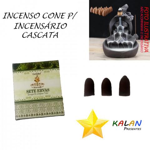 0778 - Incenso Goloka Cone Cascata Sete Ervas