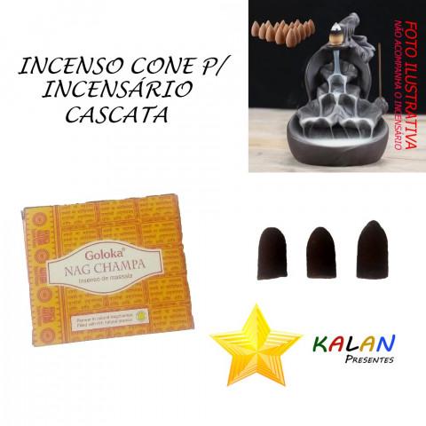 0430 - Incenso Goloka Cone Cascata Nag Champa