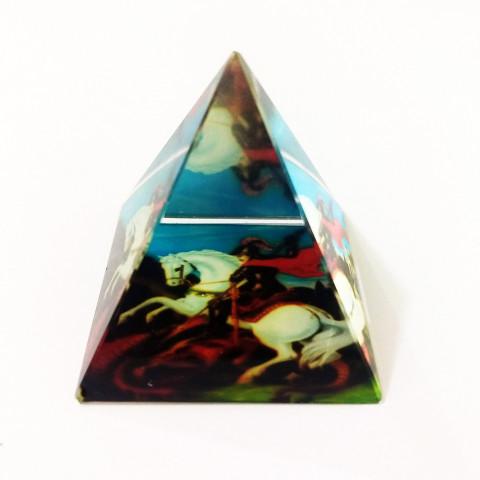 DEC117-737 - Pirâmide de Vidro Cristalizado c/ São Jorge
