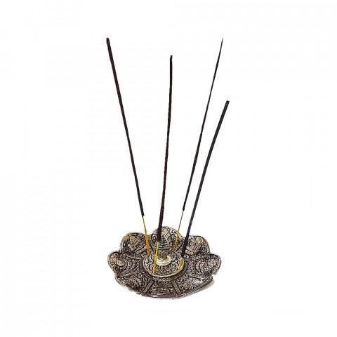 DH147P - Incensário Metal Circular Cabeça De Tailandês (Prateado)