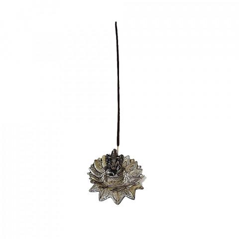 DH172AP - Incensário Metal Circular Ganesh Suporte Duplo (Prateado)