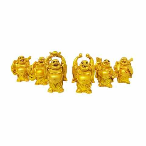 BP3999 - Kit c/ 6un Buda Felicidade Dourado (GG)