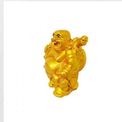 BP3999E - Buda Fartura Em Pé Dourado