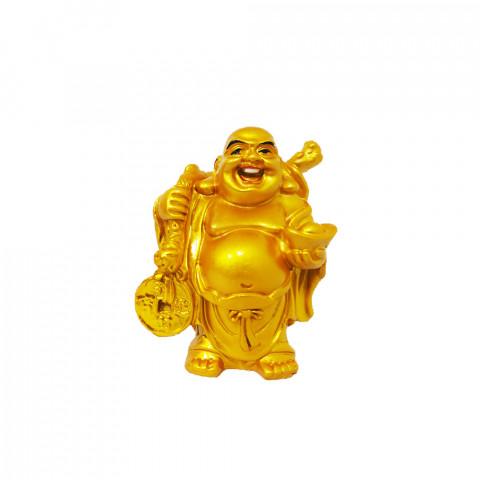 BP3999D - Buda Riqueza Em Pé Dourado