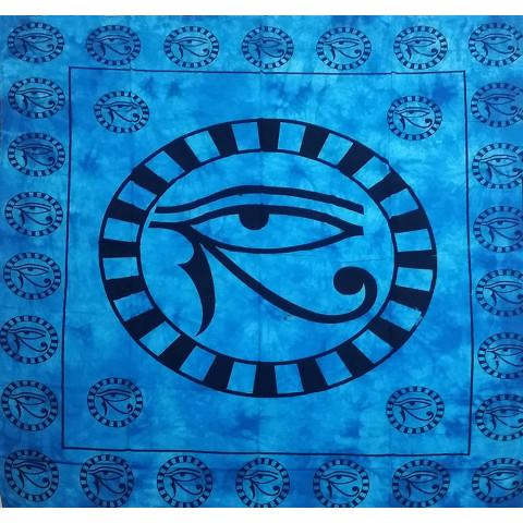 JMD806-08 - Manta Indiana Olho De Hórus Azul Claro