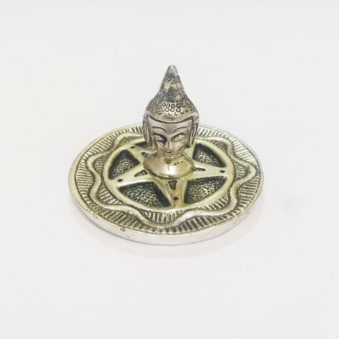 DH157- Incensário Metal Circular Cabeça de Buda