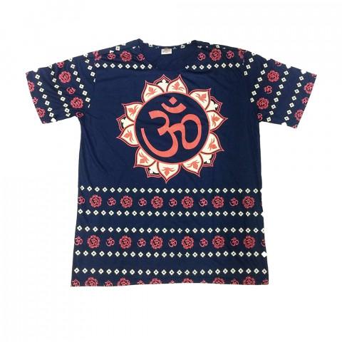 JA030 - Camiseta Azul (Mandala Flor com símbolo Om)