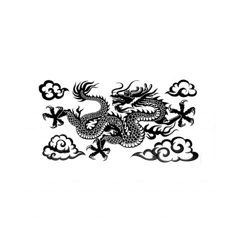 CPLKRD319310-02 Adesivo Decorativo Dragão No Céu (Preto)