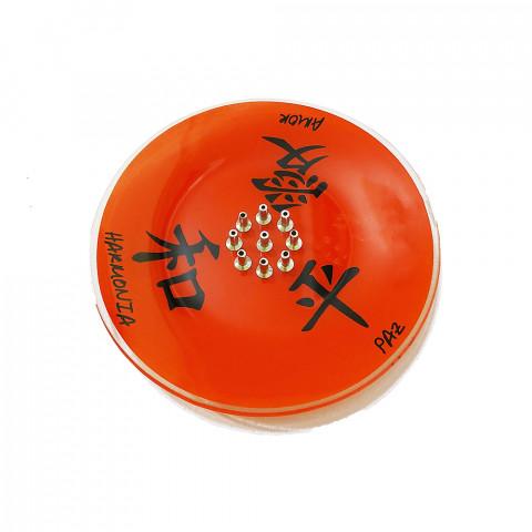 H1044 - Incensário De Vidro 9 Pontos Kanji Vermelha
