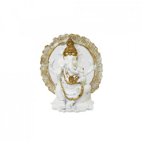 RM47-443A - Escultura Resina Mística Ganesh no Portal Branco
