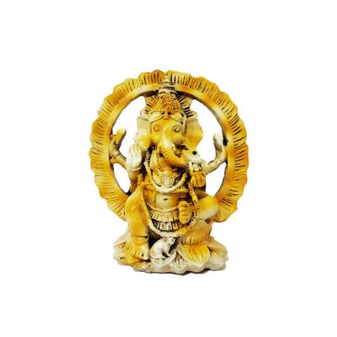 RM47-443B - Escultura Resina Mística Ganesh no Portal Branco Betume