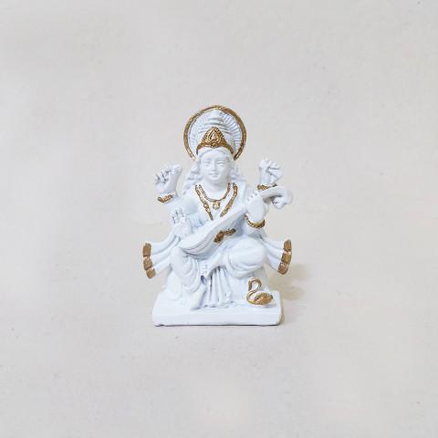 RM47-800A- Escultura Resina Mística Saraswati Branca
