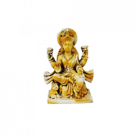 RM47-446A - Escultura Resina Mística Lakshmi Branco Betume