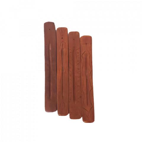 3355 - Incensário Madeira Indiano S/ Metal Entalhado