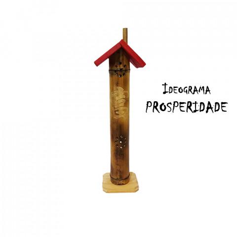 BB1763 - Incensário Torre Casinha Bambu - Ideograma Prosperidade