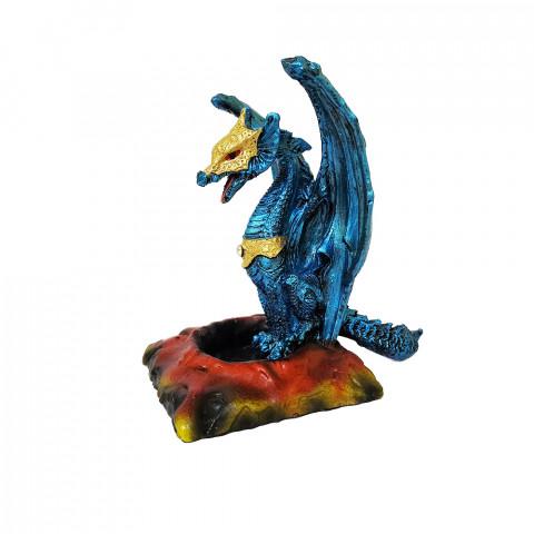 RM47-723A - Incensário Cascata Resina Mística Dragão Azul