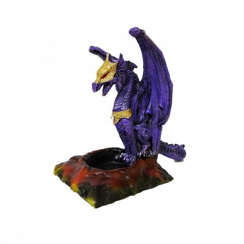 RM47-723B - Incensário Cascata Resina Mística Dragão Lilás