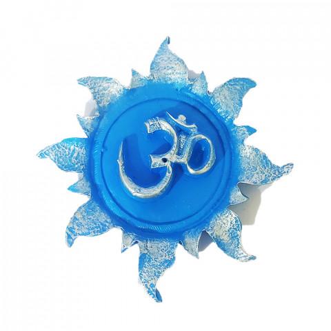 RM47-101A - Incensário Resina Mística Redondo Om Sol Azul