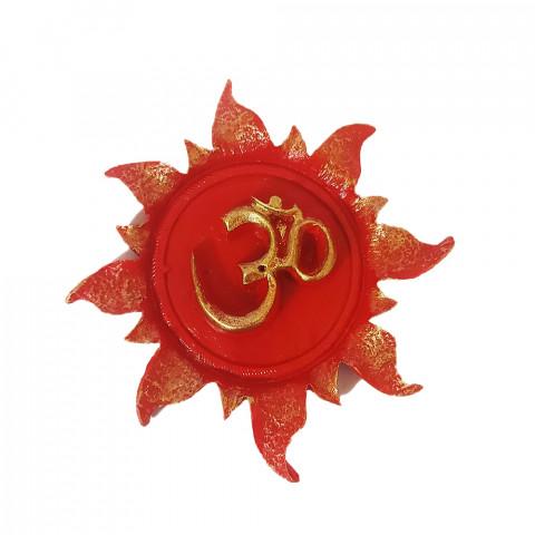 RM47-101B - Incensário Resina Mística Redondo Om Sol Vermelho
