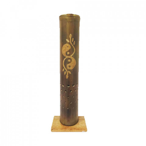 BB1735 - Incensário Torre Bambu Simples - Yin Yang