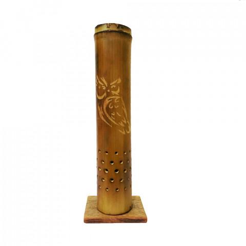 BB1753 - Incensário Torre Bambu Simples - Coruja