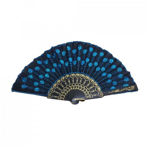 BN6076-01 - Leque Tecido - Lantejoula Azul Claro